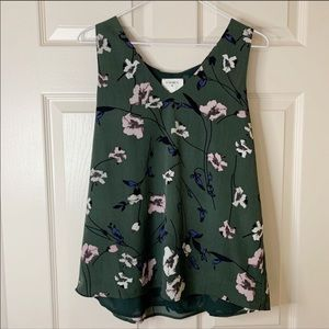 Anthropologie Everly Floral V-Neck Blouse Tank Top